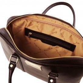 イタリア製PRATO サフィアーノレザーのビジネスバッグ、ダークブラウン、チョコレート、こげ茶、詳細3