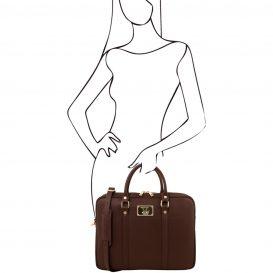 イタリア製PRATO サフィアーノレザーのビジネスバッグ、ダークブラウン、チョコレート、こげ茶、詳細4