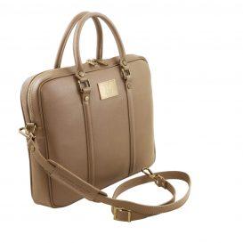 イタリア製PRATO サフィアーノレザーのビジネスバッグ、トープ、ダークトープ、ベージュグレイ、ベージュ詳細1