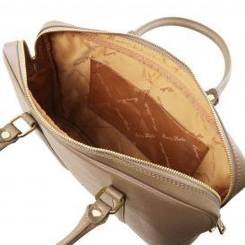 イタリア製PRATO サフィアーノレザーのビジネスバッグ、トープ、ダークトープ、ベージュグレイ、ベージュ詳細3