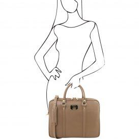 イタリア製PRATO サフィアーノレザーのビジネスバッグ、トープ、ダークトープ、ベージュグレイ、ベージュ詳細4