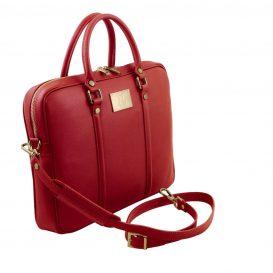 イタリア製サフィアーノレザーのビジネスバッグ PRATO、レッド、詳細1