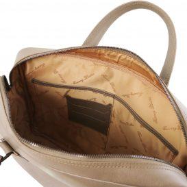 イタリア製URBINO サフィアーノレザーのPC搬送ビジネスバッグ、トープ、ダークトープ、ベージュグレイ、グレージュ、アイボリー、詳細3