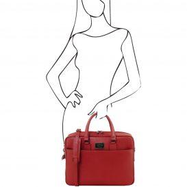 イタリア製サフィアーノレザーのPC搬送ビジネスバッグ URBINO、レッド、詳細4