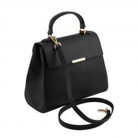 イタリア製サフィアーノレザー2WAYハンドバッグ TL BAG、ブラック、詳細1