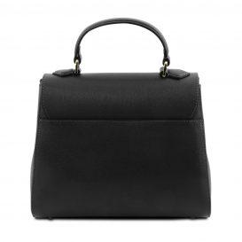 イタリア製サフィアーノレザー2WAYハンドバッグ TL BAG、ブラック、詳細2