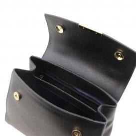 イタリア製サフィアーノレザー2WAYハンドバッグ TL BAG、ブラック、詳細3