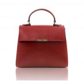 イタリア製サフィアーノ・カーフレザーの2WAYハンドバッグ TL BAG、レッド、赤