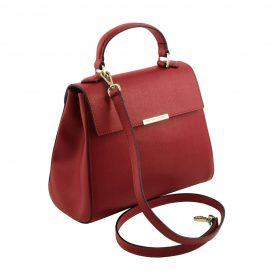 イタリア製サフィアーノレザー2WAYハンドバッグ TL BAG、レッド、詳細1
