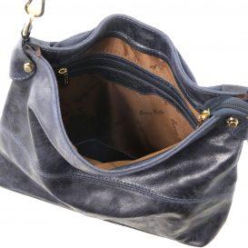 イタリア製ヴィンテージ加工レザーの2WAYハンドバッグ TL Bag、ダークブルー、詳細3