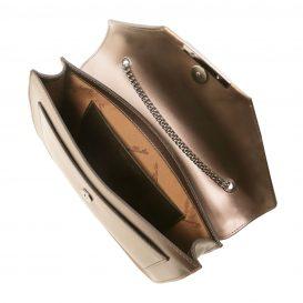 イタリア製IRIDE ルーガカーフレザーのメタリックショルダーバッグ、クラッチバッグ、パーティーバッグ、ブロンズ、詳細2