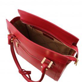イタリア製スムースレザーのハンドバッグLARA、レッド、赤、詳細