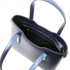 イタリア製OLIMPIA ルーガ・カーフレザーのメタリック2WAYトートバッグ(小)ダークブルー詳細2