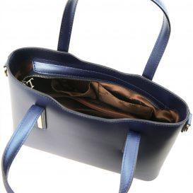 イタリア製OLIMPIA ルーガ・カーフレザーのメタリック2WAYトートバッグ(小)ダークブルー詳細3