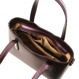 イタリア製OLIMPIA ルーガ・カーフレザーのメタリック2WAYトートバッグ(小)ボルドー、レッドワイン詳細2