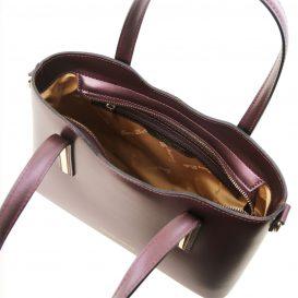 イタリア製OLIMPIA ルーガ・カーフレザーのメタリック2WAYトートバッグ(小)ボルドー、レッドワイン詳細3