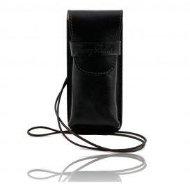 イタリア製ベジタブルタンニンレザーのサングラス&携帯電話ケース(小)ブラック、黒