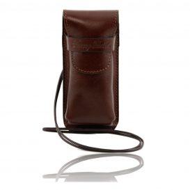 イタリア製ベジタブルタンニンレザーのサングラス&携帯電話ケース(小)ブラウン、茶色