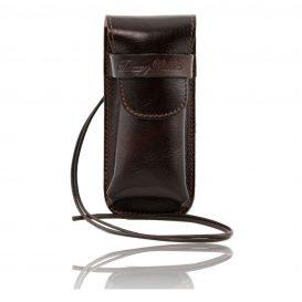 イタリア製ベジタブルタンニンレザーのサングラス&携帯電話ケース(小)ダークブラウン、こげ茶