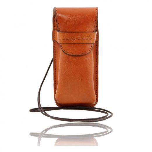 イタリア製ベジタブルタンニンレザーのサングラス&携帯電話ケース(小)ハニー、コニャック、キャメル