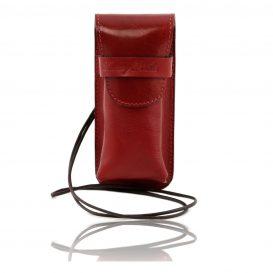 イタリア製ベジタブルタンニンレザーのサングラス&携帯電話ケース(小)レッド、赤