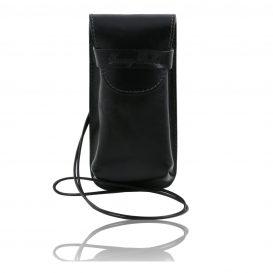 イタリア製ベジタブルタンニンレザーのサングラス&携帯電話ケース(大)ブラック、黒