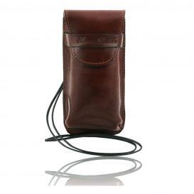 イタリア製ベジタブルタンニンレザーのサングラス&携帯電話ケース(大)ブラウン、茶色