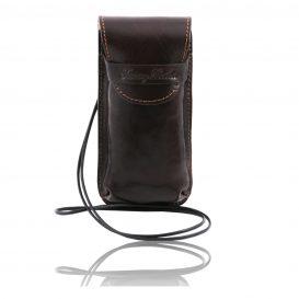 イタリア製ベジタブルタンニンレザーのサングラス&携帯電話ケース(大)ダークブラウン、こげ茶