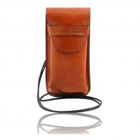 イタリア製ベジタブルタンニンレザーのサングラス&携帯電話ケース(大)ハニー、コニャック、キャメル