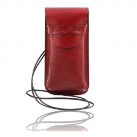 イタリア製ベジタブルタンニンレザーのサングラス&携帯電話ケース(大)レッド、赤