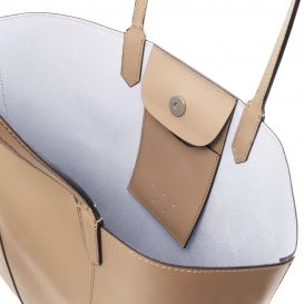 イタリア製スムースレザーのトートバッグ、トープ、ライトトープ、ベージュ、詳細3
