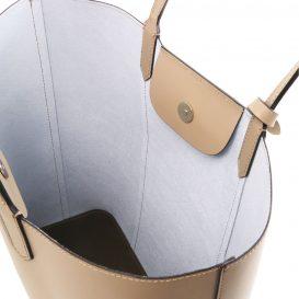 イタリア製スムースレザーのトートバッグ、トープ、ライトトープ、ベージュ、詳細4