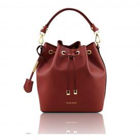 イタリア製 ルーガ・カーフレザーの2WAY巾着バッグ、ショルダーバッグ、レッド、赤、深紅