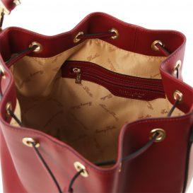 イタリア製 ルーガ・カーフレザーの2WAY巾着バッグ、ショルダーバッグ、レッド、赤、深紅、詳細2