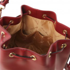 イタリア製 ルーガ・カーフレザーの2WAY巾着バッグ、ショルダーバッグ、レッド、赤、深紅、詳細3