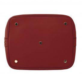 イタリア製 ルーガ・カーフレザーの2WAY巾着バッグ、ショルダーバッグ、レッド、赤、深紅、詳細4
