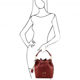 イタリア製 ルーガ・カーフレザーの2WAY巾着バッグ、ショルダーバッグ、レッド、赤、深紅、詳細5