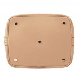 イタリア製VITTORIA スムースカーフレザーの2WAY巾着バッグ、ライトトープ、トープ、グレージュ、ベージュ、詳細4