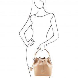 イタリア製VITTORIA スムースカーフレザーの2WAY巾着バッグ、ライトトープ、トープ、グレージュ、ベージュ、詳細5