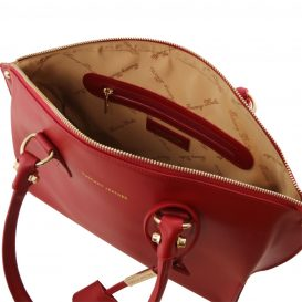 イタリア製DIANA ルーガ・カーフレザー2WAYハンドバッグ、レッド、赤、詳細2
