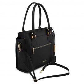 イタリア製スムースレザー2WAYハンドバッグ LARA、ブラック、詳細1