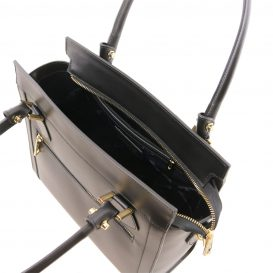 イタリア製スムースレザー2WAYハンドバッグ LARA、ブラック、詳細2
