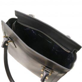 イタリア製スムースレザー2WAYハンドバッグ LARA、ブラック、詳細3