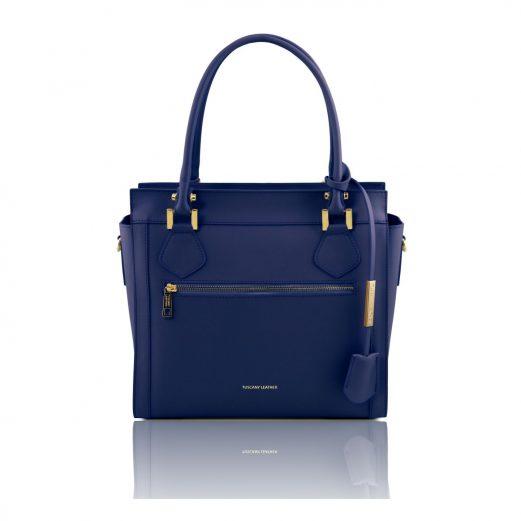 イタリア製LARA ルーガ・カーフレザー2WAYハンドバッグ、ダークブルー、ブルー、ネイビー、青