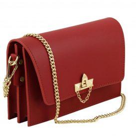 イタリア製スムースレザー、カーフレザーのチェーンバッグ、ポシェット、クラッチ、パーティーバッグ、レッド、赤、詳細1
