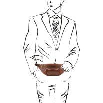 イタリア製ベジタブルタンニンレザーのウェストバッグ、詳細4