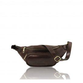 イタリア製ベジタブルタンニンレザーのウェストバッグ、ダークブラウン