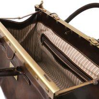 イタリア製ベジタブルタンニンレザークラシック調バッグ BARCELLONA、ダークブラウン、詳細4