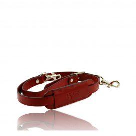 イタリア製本革ベジタブルタンニンレザーの旅行ボストンバッグ替えショルダーストラップ、レッド、赤