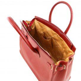 イタリア製シボ加工カーフレザーのエレガントなハンドバッグTL BAG、ルージュ、ライトレッド、赤、詳細4